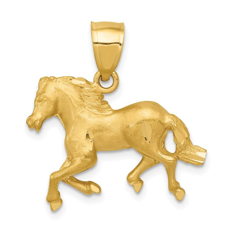 Quality Gold 14K Diamond-cut Horse Pendant