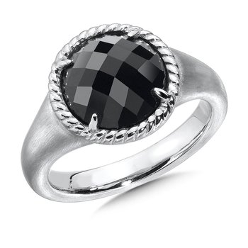 Sterling Silver Onyx Essentials Split Shank Ring
