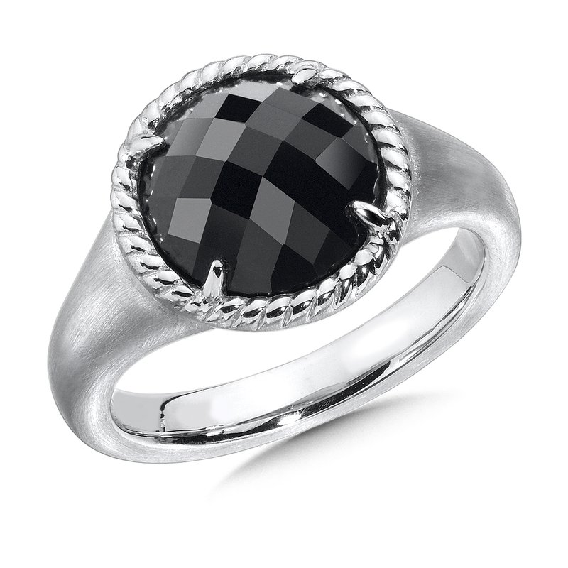 Colore SG Sterling Silver Onyx Essentials Split Shank Ring