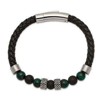 Stainless Steel Antiqued & Polished Black Agate/Green Tiger's Eye Leather B