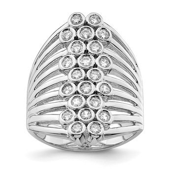 Sterling Silver Rhodium-plated Multi-row Bezel CZ Ring