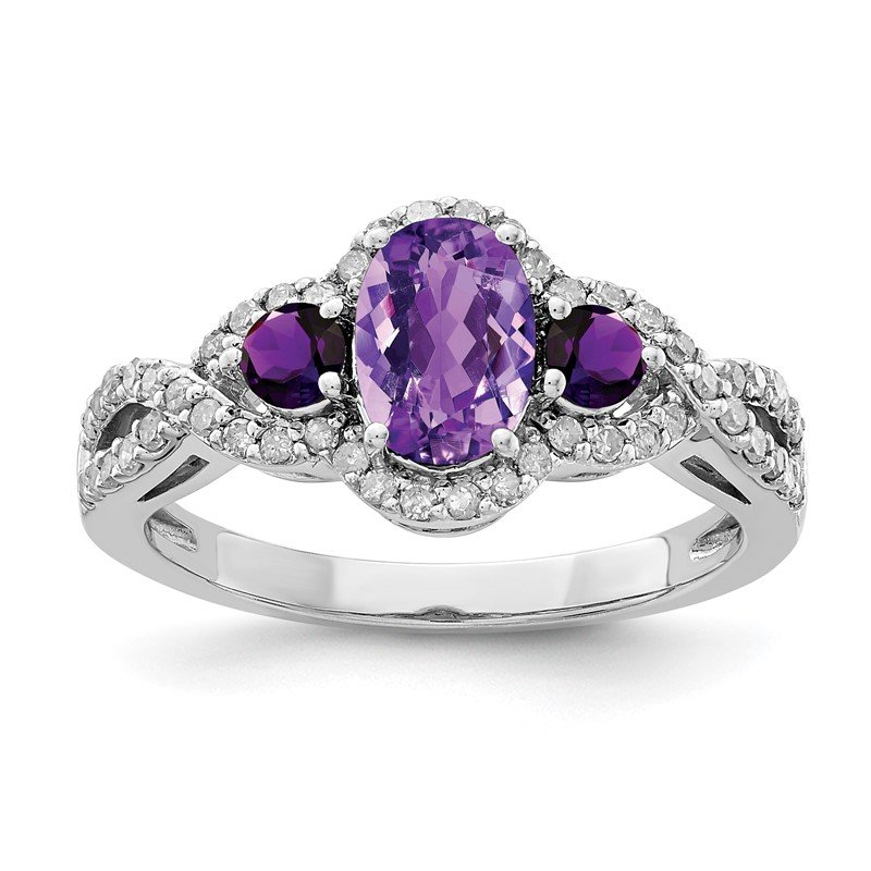 Quality Gold Sterling Silver Rhodium-plated Amethyst & Diamond Ring