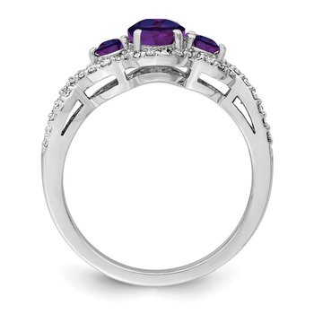 Sterling Silver Rhodium-plated Amethyst & Diamond Ring