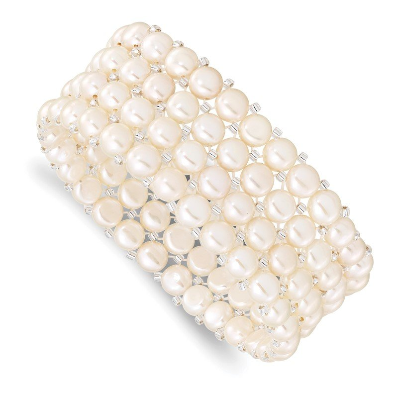 Quality Gold 6-7mm Button FWCPearl & Glass Beaded 4-row Stretch Bracelet