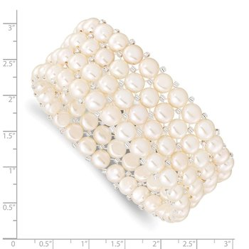 6-7mm Button FWCPearl & Glass Beaded 4-row Stretch Bracelet