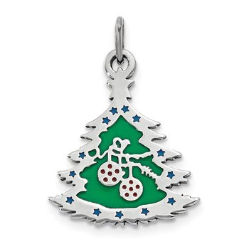 Sterling Silver Polished Green Enameled Christmas Tree Pendant