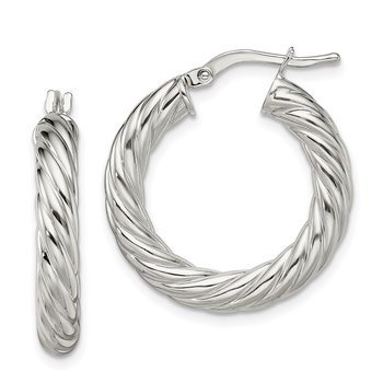 Sterling Silver Polished Twisted 4mm Hoop Earrings