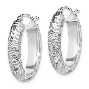 Sterling Silver Rhodium Plated Diamond-cut 5mm Oval Hoop Earrings