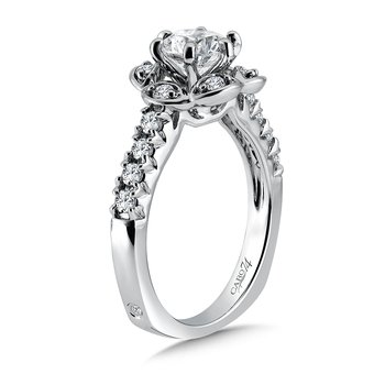 Inspired Vintage Collection Diamond Halo Engagement Ring with Side Stones in 14K White Gold with Platinum Head (1ct. tw.)