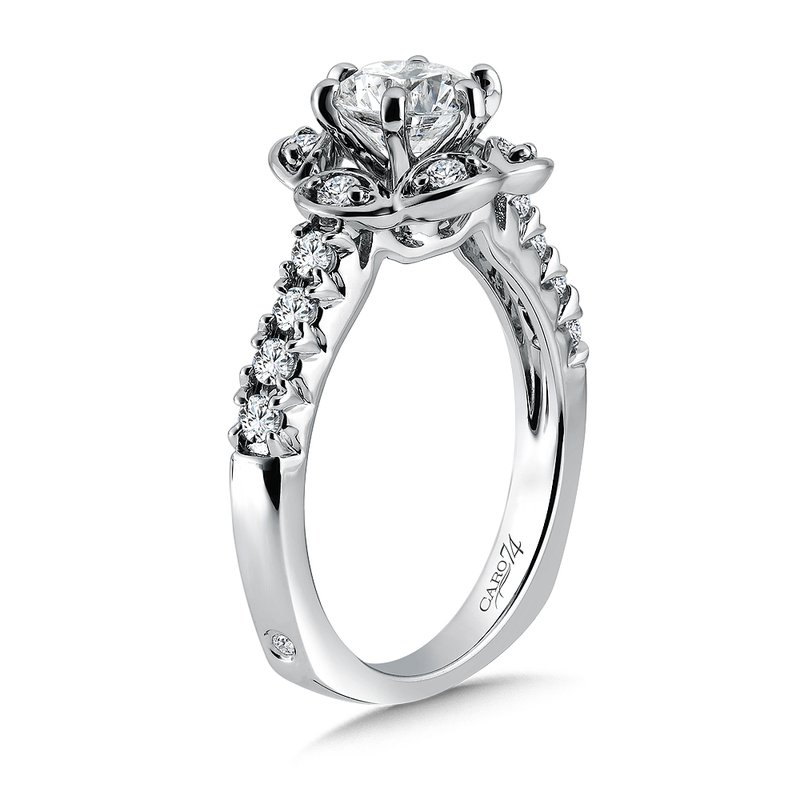 Caro74 Inspired Vintage Collection Diamond Halo Engagement Ring with Side Stones in 14K White Gold with Platinum Head (1ct. tw.)