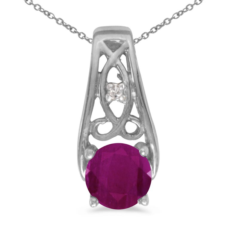 Color Merchants 14k White Gold Round Ruby And Diamond Pendant