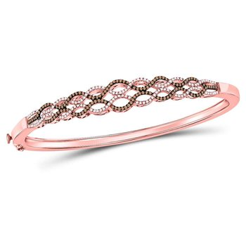 10kt Rose Gold Womens Round Brown Color Enhanced Diamond Braided Bangle Bracelet 3/4 Cttw