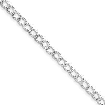 Sterling Silver Rhodium Plated Half round Wire Curb Chain