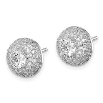 Sterling Silver Rhodium-plated CZ Round Post Earrings