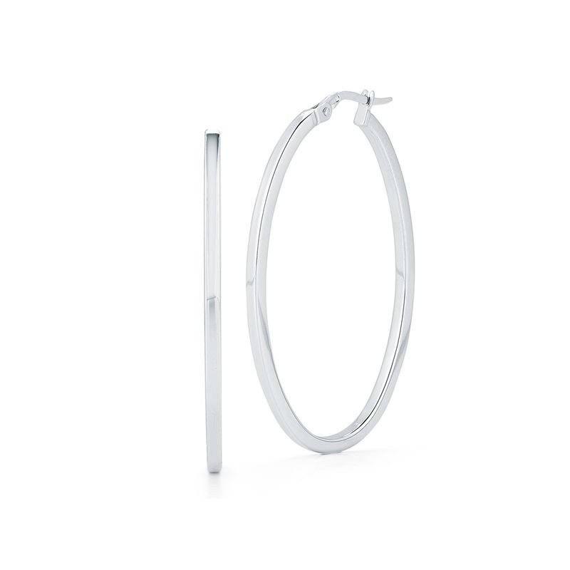 Roberto Coin Large Oval Hoop Earring &Ndash; 18K White Gold