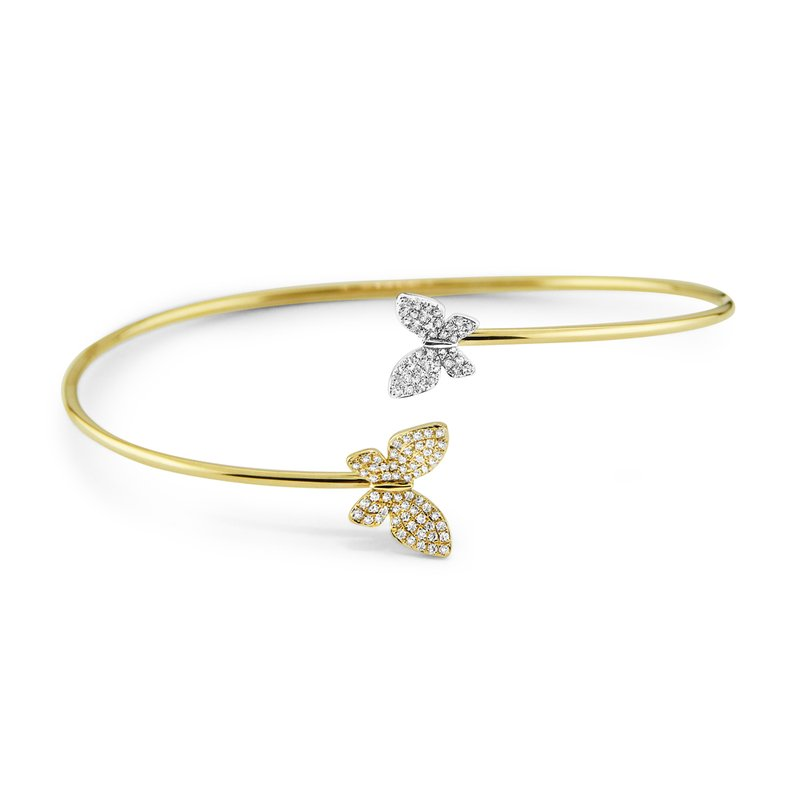 KC Designs 14K Diamond Double Butterfly Bangle, Two Tone