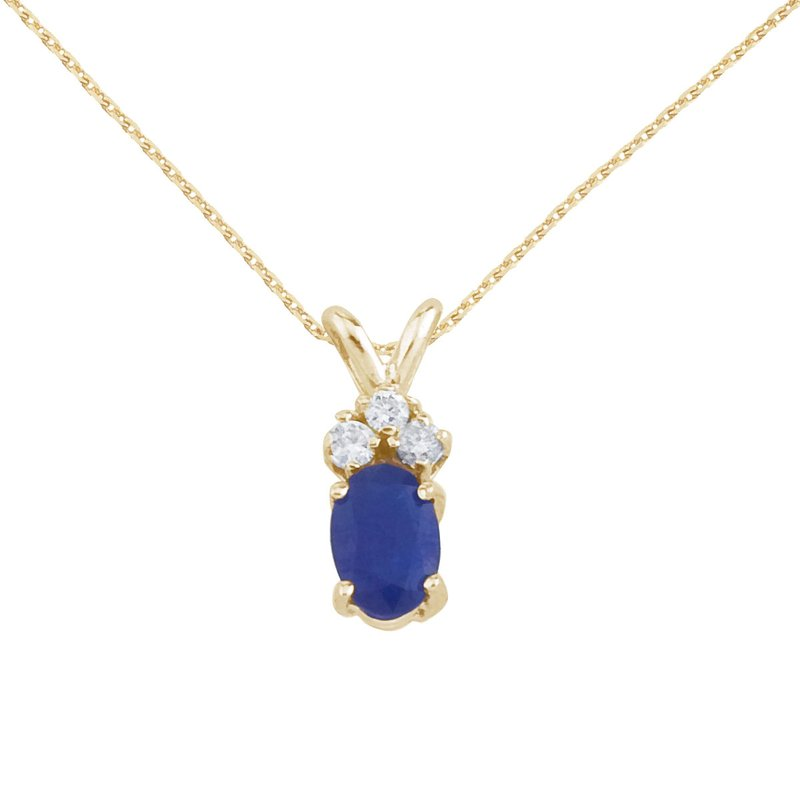 Color Merchants 14K Yellow Gold Sapphire Pendant with Diamonds