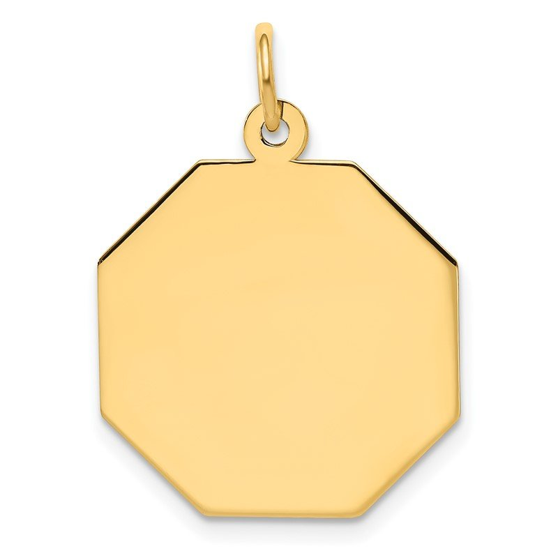 Quality Gold 14k Plain .009 Gauge Engravable Octagonal Disc Charm
