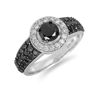 14K WG White and Black Diamond Engagement Ring