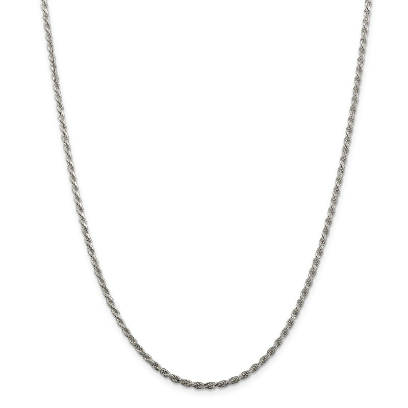Quality Gold Sterling Silver 2.25mm Diamond-cut Rope Chain