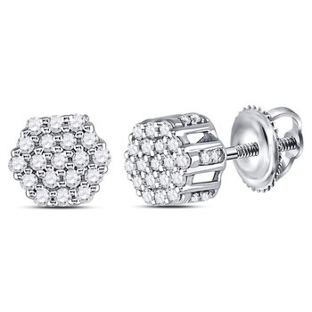 14kt White Gold Mens Round Diamond Hexagon Cluster Earrings 1/4 Cttw