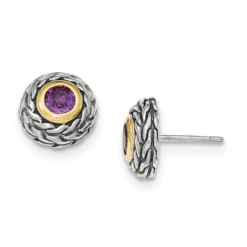 Shey Couture Sterling Silver w/14K Amethyst Post Earrings