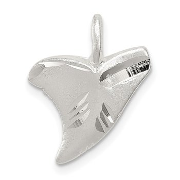 Sterling Silver Diamond Cut Shark Tooth Pendant