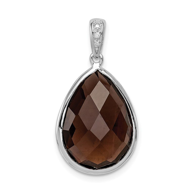 Quality Gold Sterling Silver Rhodium Plated Dia. Smoky Quartz Teardrop Pendant