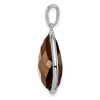 Sterling Silver Rhodium Plated Dia. Smoky Quartz Teardrop Pendant