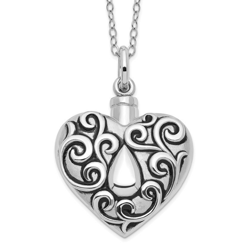 Quality Gold Sterling Silver Antiqued Grieving Heart Ash Holder 18in. Necklace