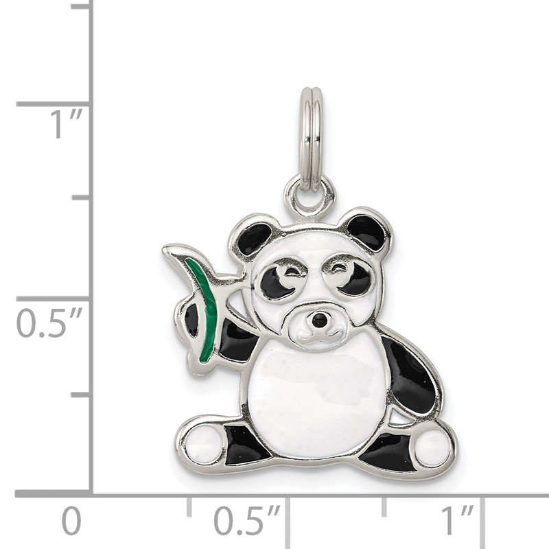 Quality Gold Sterling Silver Enameled Panda Bear Charm