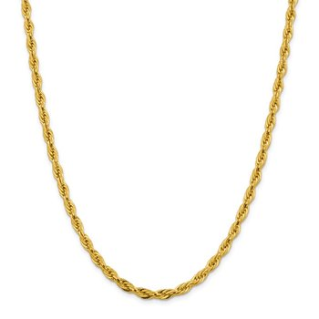 14ky 4.75mm Semi-Solid Rope Chain
