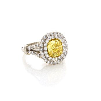 VIVID YELLOW CUSHION CUT 1.51 CT