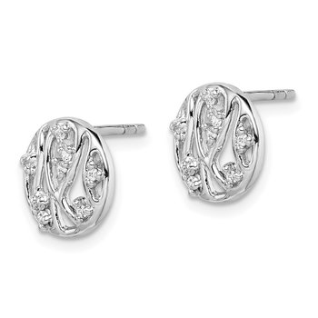 Sterling Silver Rhodium-plated Round Filigree CZ Post Earrings