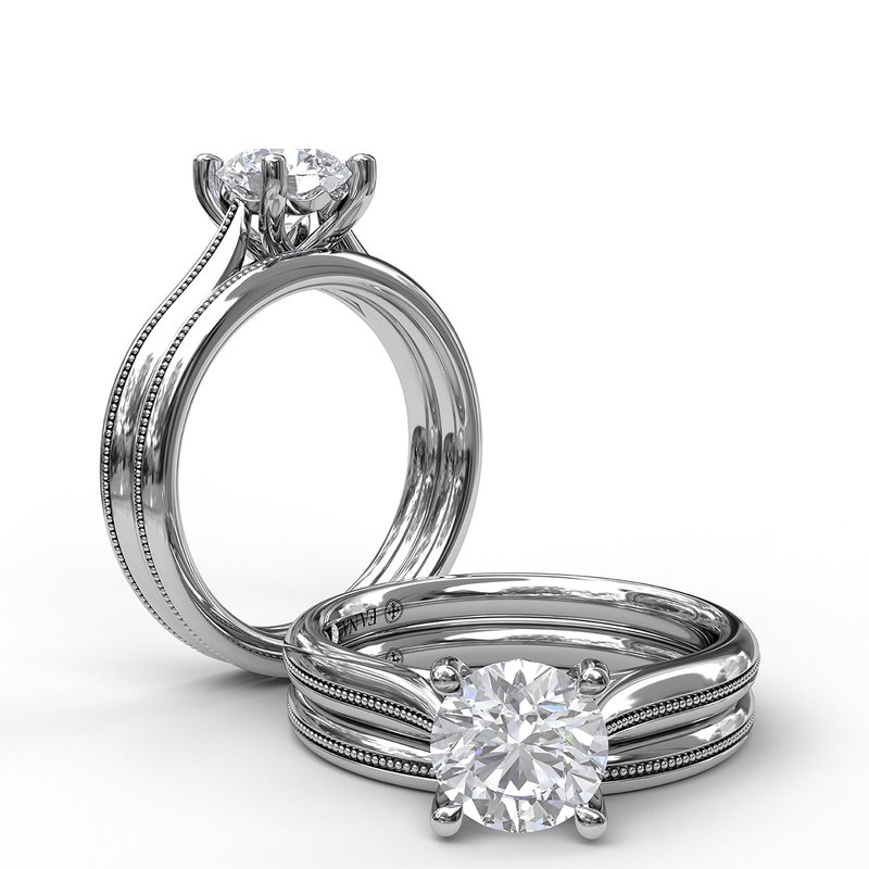 Fana Round Cut Solitaire With Detailed Milgrain Band