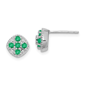 Sterling Silver Rhodium-plated Emerald Square Post Earrings