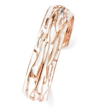Leslie's SS Rose Gold-plated Small Domed Scrunch Bangle
