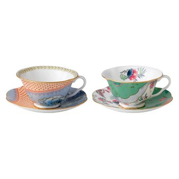 Teacup & Saucer Set/2 Blue Peony & Butterfly Posy