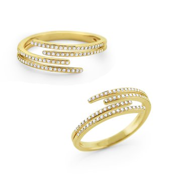 14K Gold and Diamond Contemporary Stack Ring