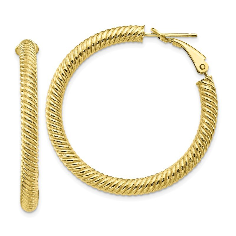 Quality Gold 10k 4x30 Twisted Round Omega Back Hoop Earrings