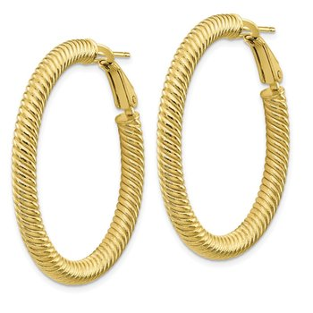 10k 4x30 Twisted Round Omega Back Hoop Earrings