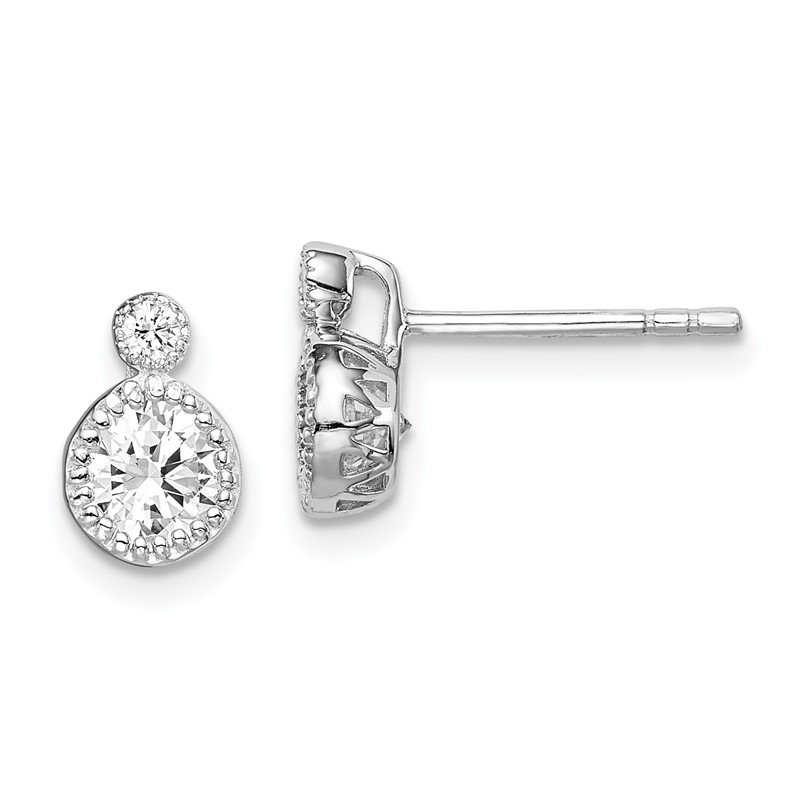 J.F. Kruse Signature Collection Sterling Silver Rhodium-plated 2-CZ Post Earrings