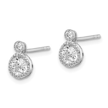Sterling Silver Rhodium-plated 2-CZ Post Earrings