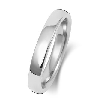 18Ct White Gold 3mm Soft Court Wedding Ring