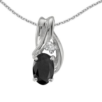 10k White Gold Oval Onyx And Diamond Pendant