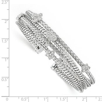 Leslie's Sterling Silver CZ Polished Textured Cuff Bangle