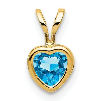 14k 5mm Heart Blue Topaz Bezel Pendant