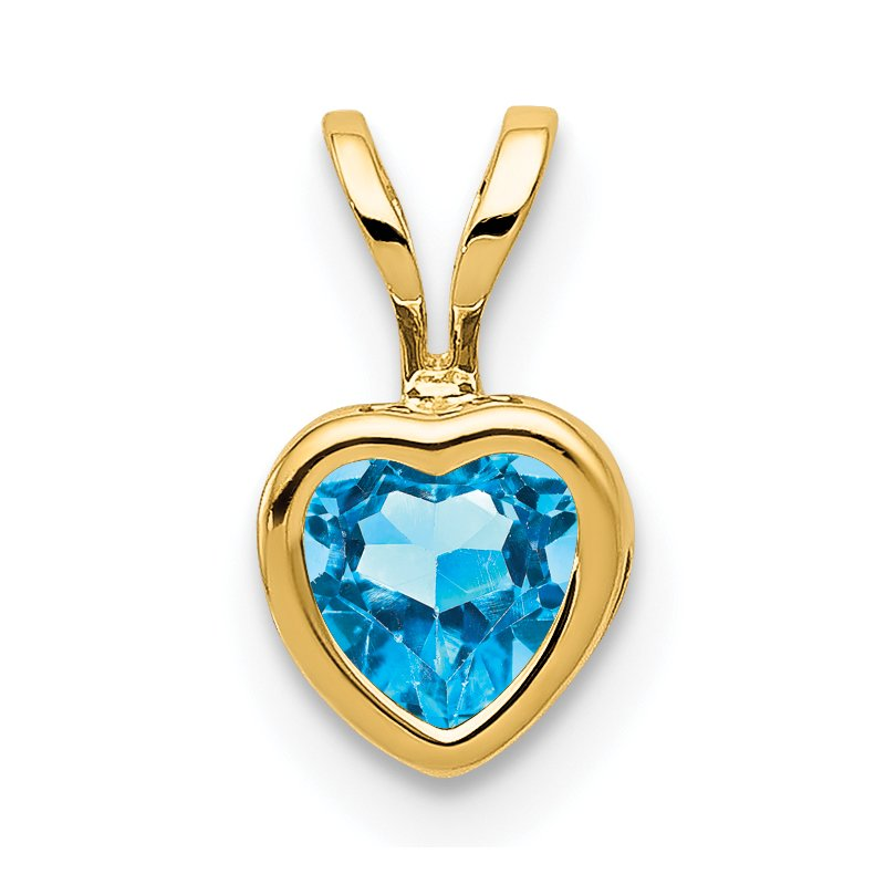 J.F. Kruse Signature Collection 14k 5mm Heart Blue Topaz Bezel Pendant
