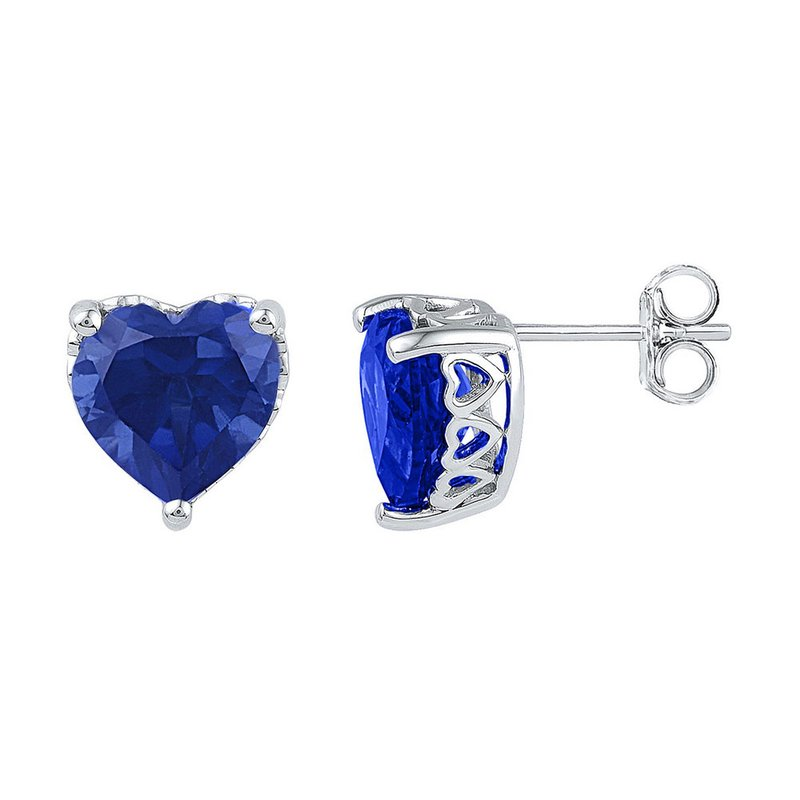 Kingdom Treasures 10kt White Gold Womens Lab-Created Blue Sapphire Heart Stud Earrings 7.00 Cttw