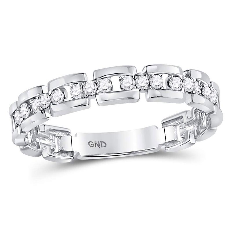 Kingdom Treasures 10kt White Gold Womens Round Diamond Rolo Link Stackable Band Ring 1/5 Cttw
